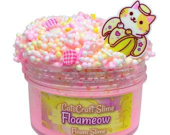 """Full Floam Slime """"Floameow"""" SCENTED crunchy ASMR foam beads slime with cat charm"""