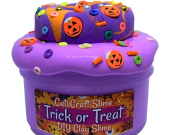 """DIY Clay Slay Slime """"Trick or Treat"""" Scented Butter Slime Donut Kit ASMR 6 or 8 oz"""