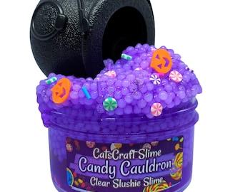 "Slushie Slime ""Candy Cauldron"" SCENTED purple crystal clear slushee bead crunchy ASMR"