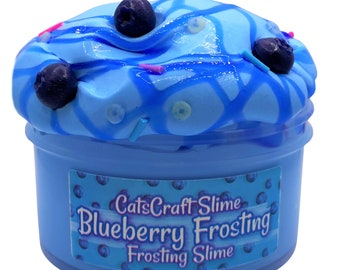 """Frosting Slime """"Blueberry Frosting"""" Scented butter Slime with blue berry Charms Inflating Soft ASMR"""