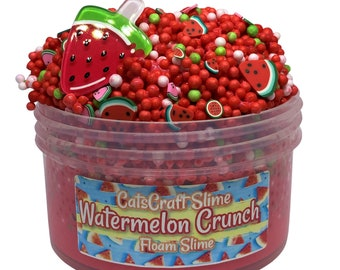 """Full Floam Slime """"Watermelon Crunch"""" SCENTED crunchy ASMR foam beads slime with charm"""