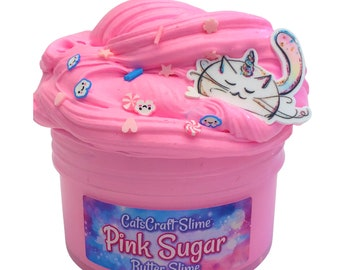 """Butter Slime """"Pink Sugar"""" Scented butter Slime with Charm Inflating Soft ASMR"""