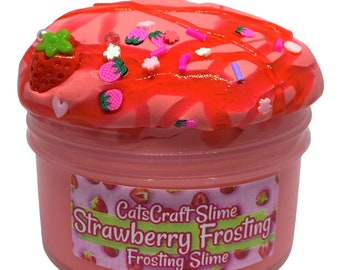"""Frosting Slime """"Strawberry Frosting"""" Scented butter Slime with Charm Inflating Soft ASMR"""