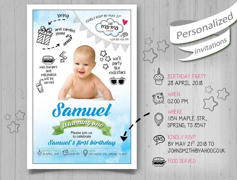 Personalized Birthday Invitation Babys First Year Collage