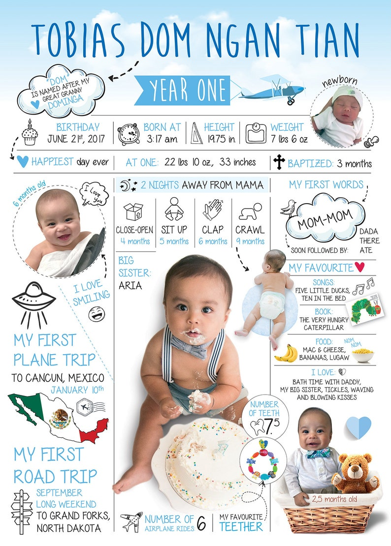 First Birthday Boy Girl Chalkboard Sign Personalized Baby Infographic White  Blue Year In Review Infographic Resume Instant Download Print