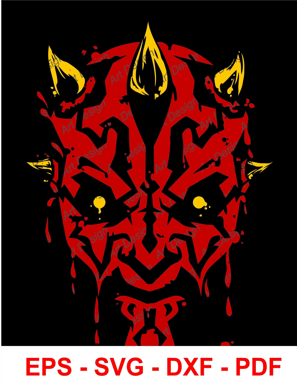 Darth Maul Star Wars Disney Vector Clip Art. svg. dxf. eps ...