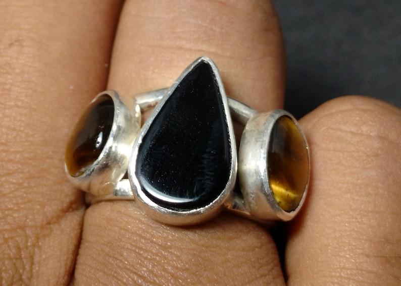 Band Ring Statement Ring Gemstone Ring Handmade Ring Jewelry Wedding Ring Double Ring Black Onyx /& Tiger Eye Ring 925 Silver Ring