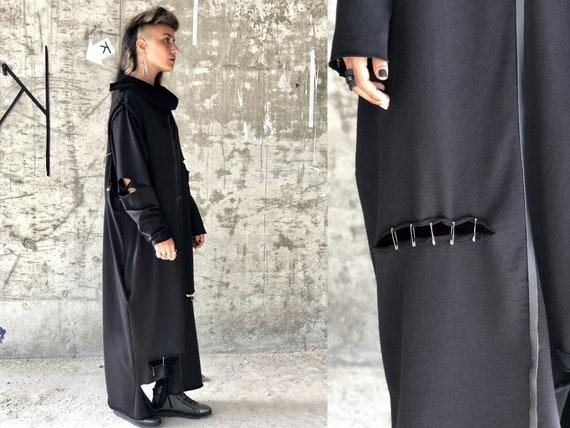 Black Long Versatile Double Sided Dress, Cyberpunk Streetwear for Women