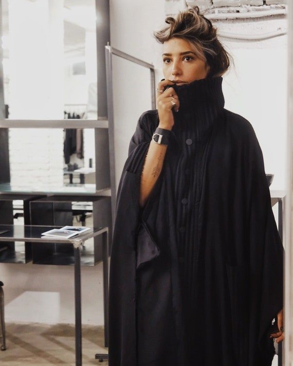 Black Cyberpunk Poncho That can be used as a Dress, Punk Streetwear For Women