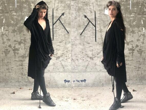 Unusual Black Modern Dress, Cyberpunk Streetwear for Women