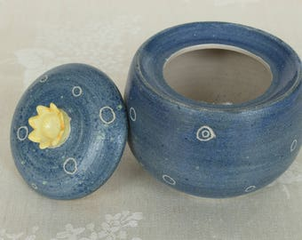 Small starry sky can with crown-lid-pottery, ceramics, clay
