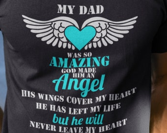 133482d694 Remember Dad Angel Wings Fathers Day Short-Sleeve Unisex T-Shirt