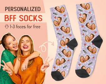 Custom Face Socks, Personalized Best Friends Photo Sock, Picture Face on Socks, Customized Funny Photo Gift For Her, Him, Friends BFF, #1BFF