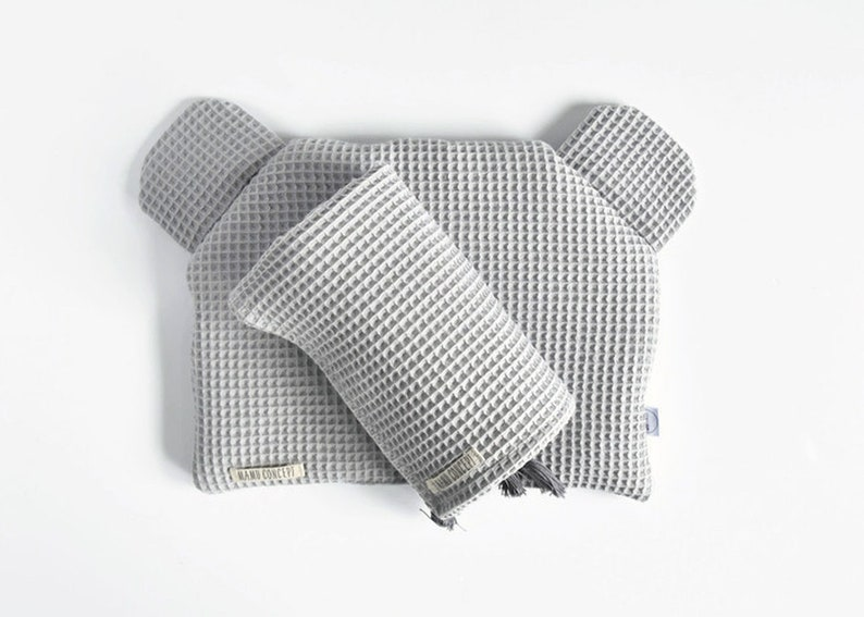 Waffle cotton baby shower gift Bear head flat baby pillow with ears Light gray animal shaped pillow