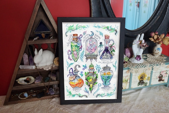 Original watercolor  painting. Magic potions, witch bottles. Witch supply original art. Goth aesthetic wall decor. Green good Witch painting