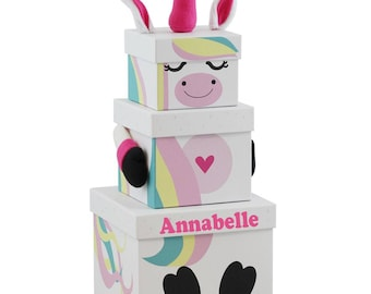 3 White Unicorn Gift Box Stackable Nested Storage Decoration Kids Present Party