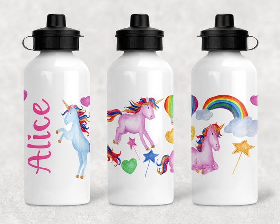 Childs Name Gift Blue Heart Unicorn Metal Bottle You Pick Unicorn Rainbow Unicorn Personalized Waterbottle Unicorn Kids Water Bottle