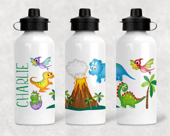 personalised water bottle kids School Sports Boys Dinosaur Drinks **more Colours
