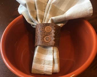 Bison Leather Napkin Ring set