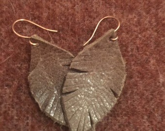 Soft Brown Leather Feather Boho Style Earrings - small