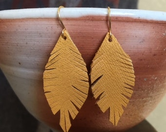 Yellow Leather Feather Boho Style Earrings - small