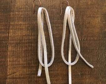 River Eddy Mythical White Leather Earrings - big