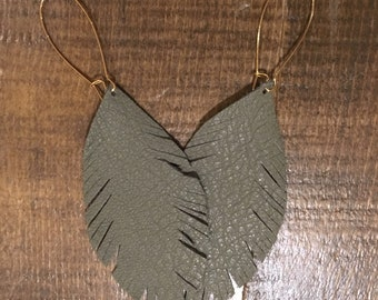 Driftwood Gray Leather Feather Boho Style Earrings - big