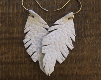 Mythical White Leather Feather Boho Style Earrings - small