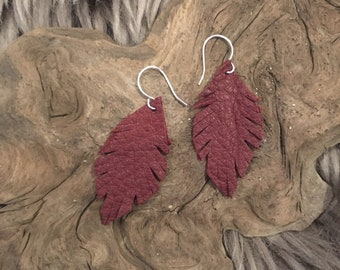 Maroon Leather Feather Boho Style Earrings - small