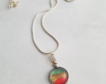Abstract hand painted pendant