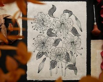 Original linoprints Cephalophores on Lokta paper Prices for each print