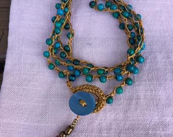 Crocheted Multilayered Bracelet/Necklace