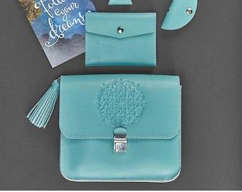 Mandala Bag Tiffany Color Minimalist Wallet Crossbody Blue Gift For Her Leather Set