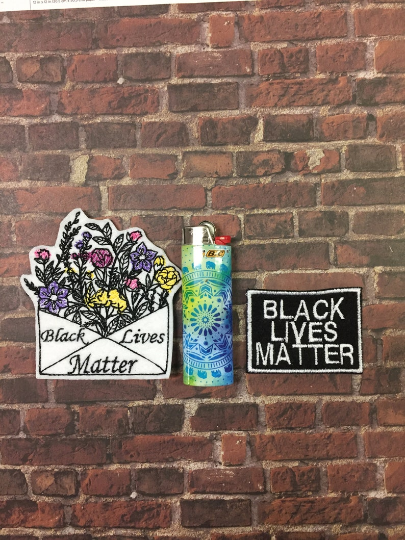 BLM Badge Fits Hats Black Lives Matter Floral Envelope Iron-On or Sew On Patch Bags Etc. Jackets