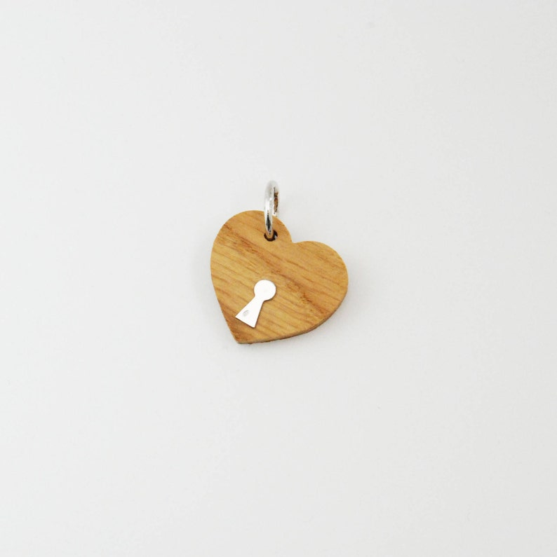 Small Heart Wood and Silver Charm / Cord or Chain Bracelet / image 0