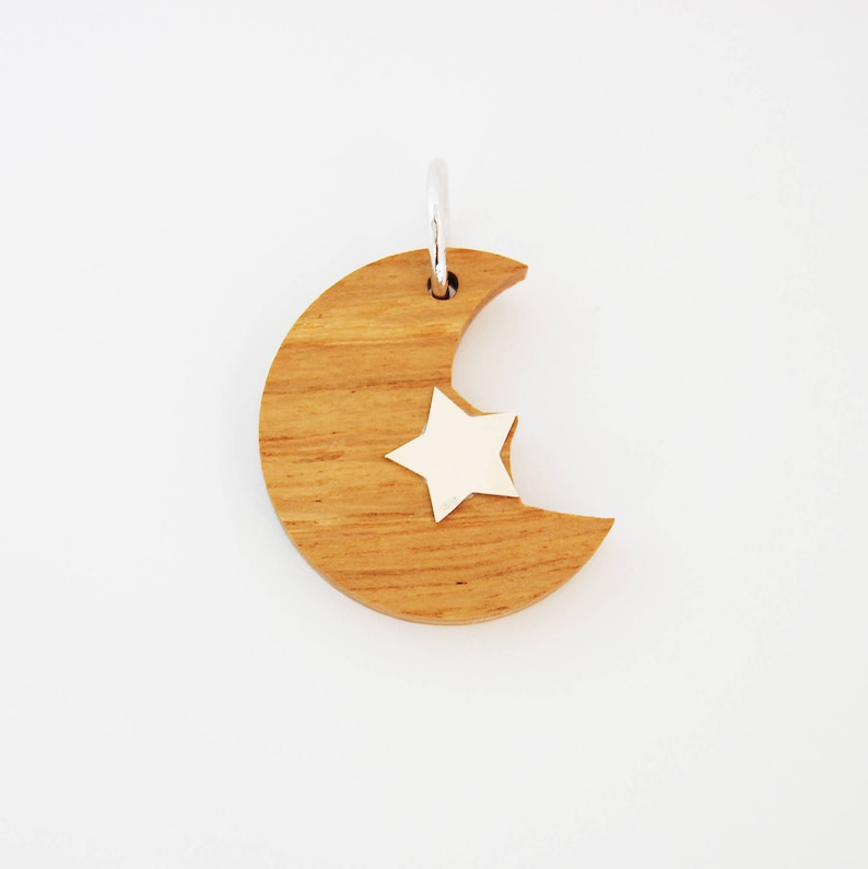 Wood Silver Moon Charm for Necklace-Jewelry  Gift For image 0