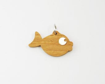 Small Fish Charm/ Wood and Silver pendant