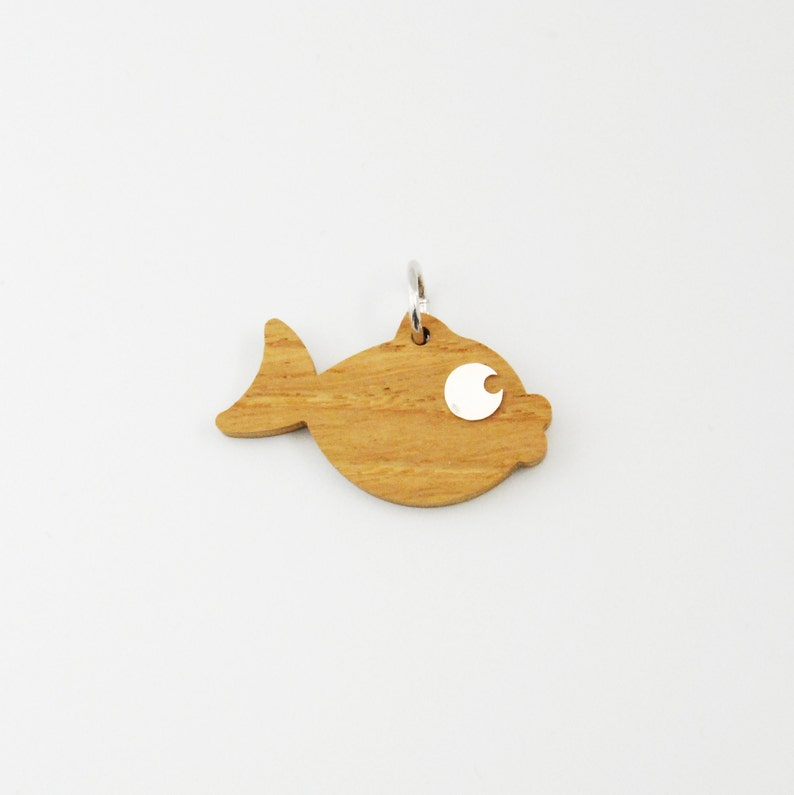 Small Fish Charm/ Wood and Silver pendant image 0