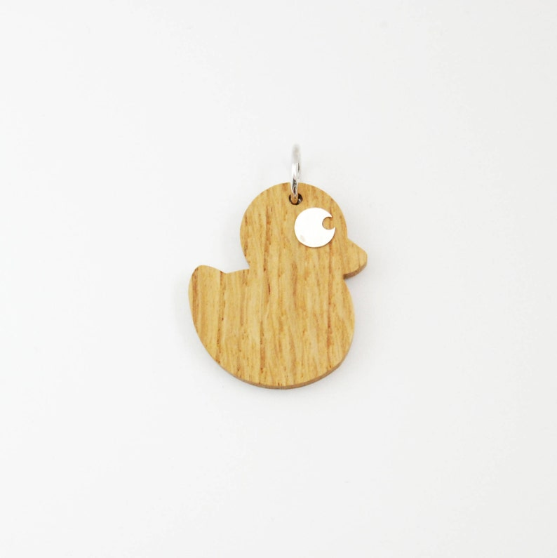 Wood Silver Big Duck Charm for Necklace-Jewelry  Gift For image 0