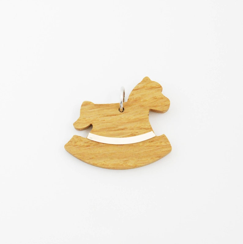 Rocking Horse charm / Wood and Silver charm / Girl and Woman image 0
