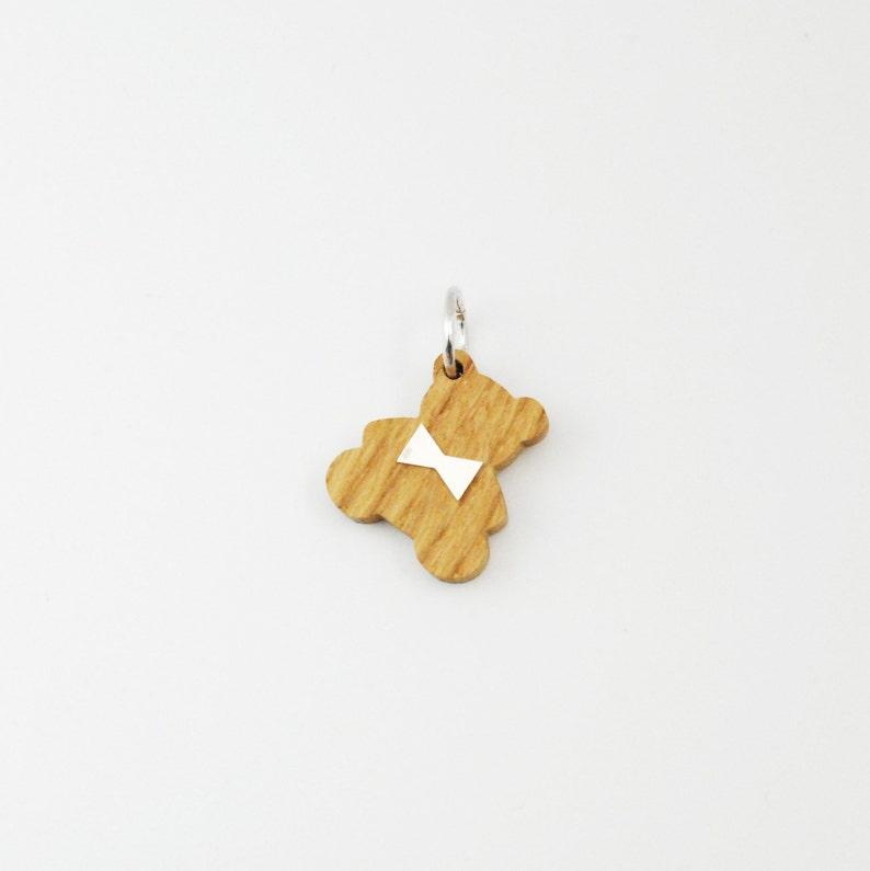 Wood Silver Teddy Bear Charm for Necklace-Jewelry Gift For image 0