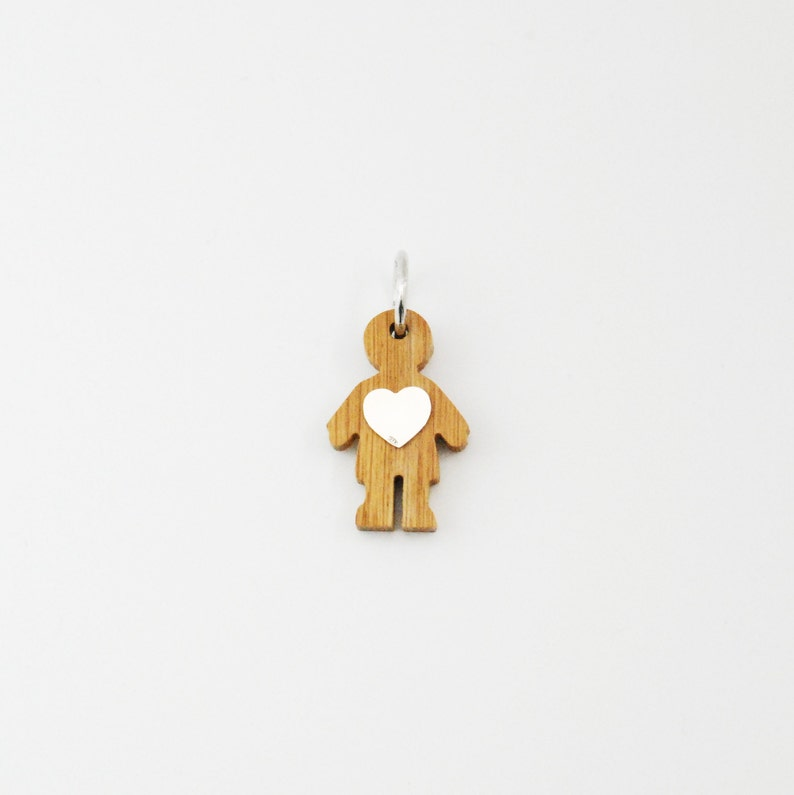 Small Baby Boy Charm  Wood and Silver Necklace  Mom and Dad image 0