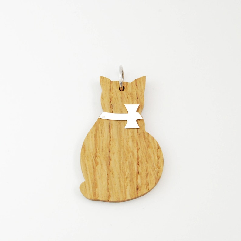 Wood Silver Big Cat Charm for Necklace-Jewelry  Gift For image 0