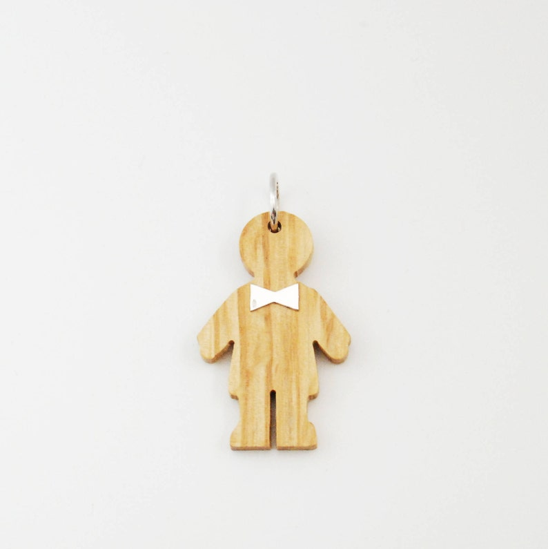 Baby Boy Charm  Wood and Silver Necklace  Mom and Dad Gift image 0