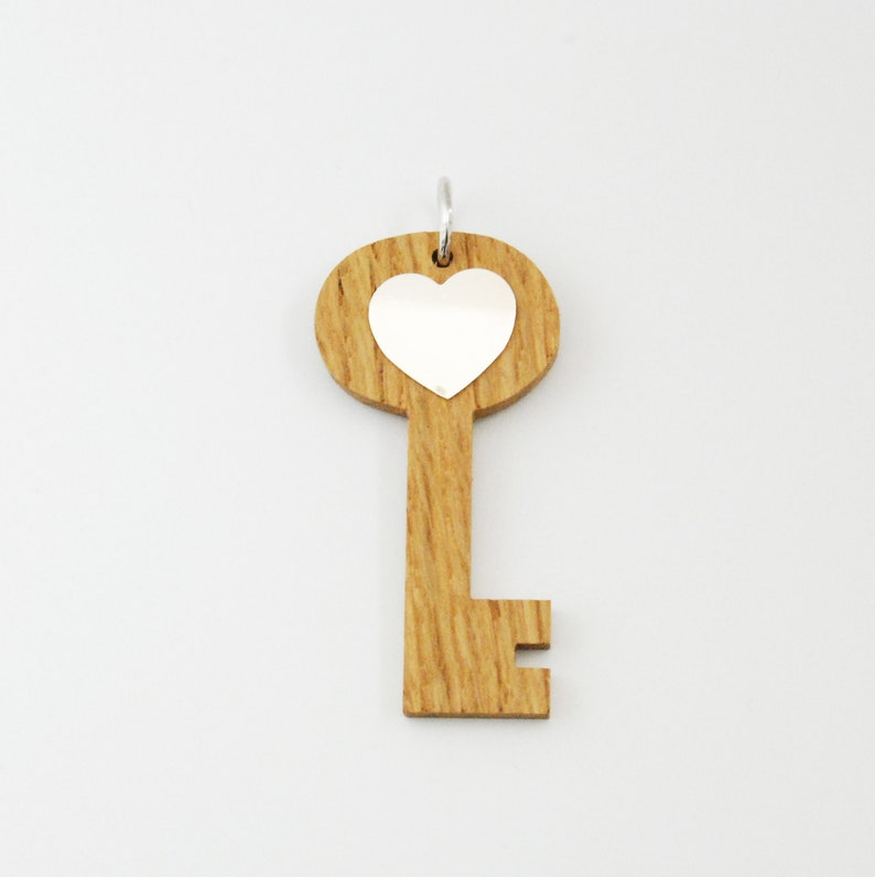 Big Key Charm  Wood and Silver Necklace  image 0