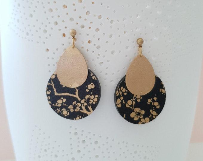 Circle Drop Earrings, Earrings made with Wood, Origami Paper and Brass Drop, Modern Handmade Dangle Earrings.