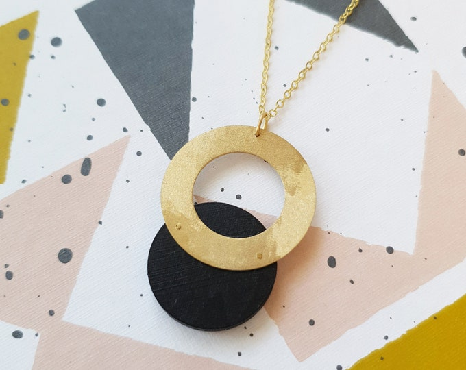 Pendant made with Small Wood Circle and Big Brass Ring, Plain Color Necklace With Brass Chain, Modern Handmade Pendant.