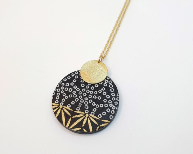 Pendant made with Big Wood Circle, Origami Paper and Small Brass Circle, Modern Handmade Necklace with Brass Chain.
