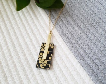 Pendant made with Wood Rectangle, Origami Paper and Long Brass Rectangle, Modern Handmade Necklace with Brass Chain.