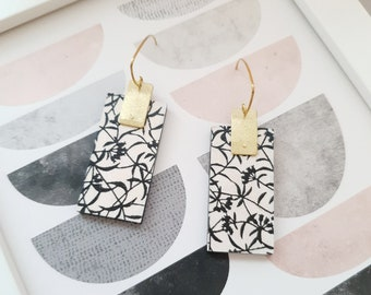 Rectangle Drop Earrings, Earrings made with Wood, Origami Paper and Brass Rectangle, Modern Handmade Dangle Earrings.